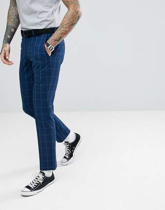 Selected Skinny Suit Trousers In Grid Check