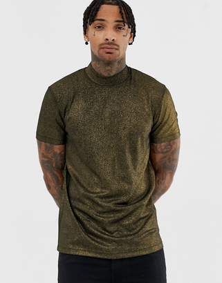 Asos DESIGN t-shirt with turtleneck in gold metallic rib fabric