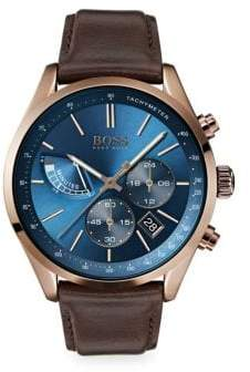 HUGO BOSS Grand Prix Ionic Coffee-Plated Stainless Steel& Brown Leather Strap Chronograph Watch
