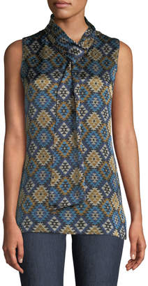 Lafayette 148 New York Abbie Aztec Artistry Silk Blouse w/ Self-Tie Neck