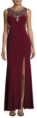 Betsy & Adam Embellished Illusion Gown $259 thestylecure.com