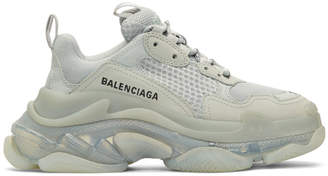 Balenciaga Grey Triple S Clear Sole Sneakers