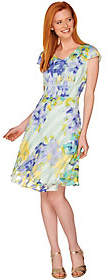 Isaac Mizrahi Live! Watercolor Print GinghamOrganza Dress