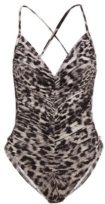 Norma Kamali Butterfly Mio Leopard Print Ruched Swimsuit - Womens - Grey Print