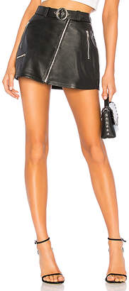 Understated Leather Mid Rise Moto Skirt With Belt