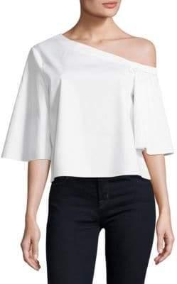 Tibi Satin Poplin One-Shoulder Cotton Top