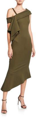 Elliatt Platform Asymmetric Side-Drape Ponte Dress