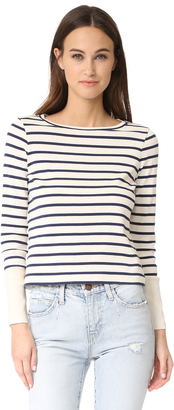 Whistles Stripe Contrast Cuff Sweater $120 thestylecure.com
