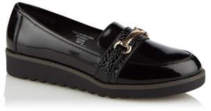 George Girls Black Micro-Fresh Patent Buckle School Loafers