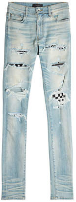 Amiri Art Patch Distressed Skinny Jeans