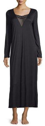 Hanro Eleonora Long-Sleeve Long Gown, Black $225 thestylecure.com