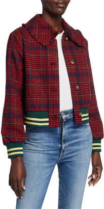 J.o.a. Plaid Contrast Stripe-Trim Moto Jacket