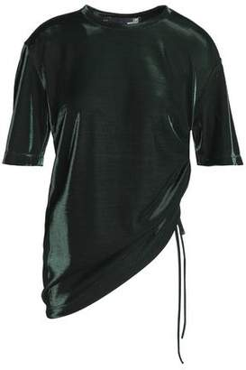 Love Moschino Ruched Metallic Woven Top