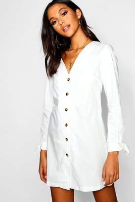 boohoo Long Sleeve Mock Horn Button Shift Dress
