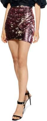 Topshop Flip Sequin Drape Miniskirt