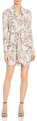 Haute Hippie Snake In The Grass Tie-Front Printed Silk Shirt Dress