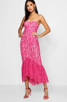 boohoo Lace Bandeau Ruffle Hem Midi Dress