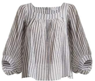 Apiece Apart Orchard Striped Balloon Sleeve Top - Womens - Blue Stripe