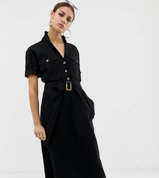 NA-KD Na Kd denim utility midi dress in black