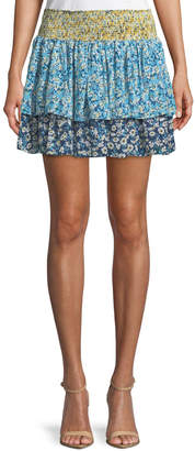 Ramy Brook Anabelle Tiered Floral-Print Silk Skirt
