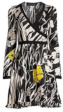 Etro Women's Zebra& Floral Silk Wrap Dress
