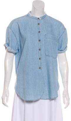 Closed Chambray Button-Up Top w/ Tags