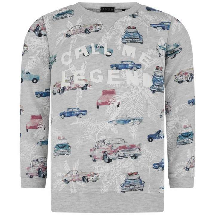 IKKSBoys Grey Car Print Sweater