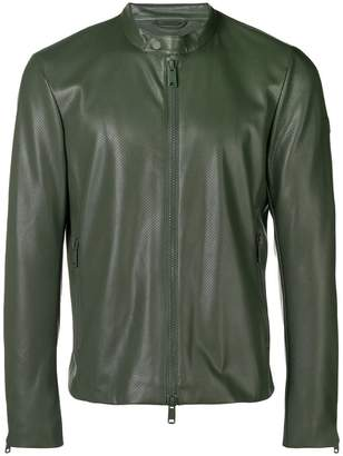 Emporio Armani perforated faux leather jacket