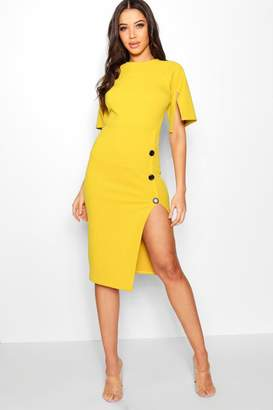 boohoo Split Sleeve Button Midi Dress