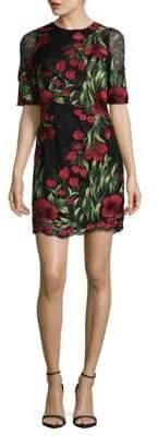 Aidan Mattox Embroidered Floral Lace Sheath Dress
