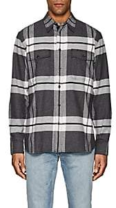 Rag & Bone MEN'S JACK PLAID COTTON FLANNEL OVERSHIRT-DARK GRAY SIZE XS