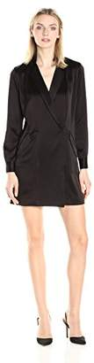 Halston Women's Long Sleeve Satin Shirt Dress, 8