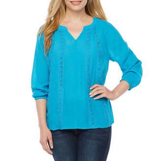 Liz Claiborne Short Sleeve Round Neck T-Shirt-Womens Petites