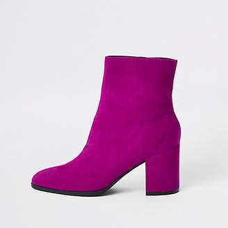 River Island Pink block heel suede boots
