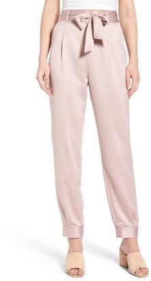 Women's Leith Tie Waist Satin Pants $65 thestylecure.com