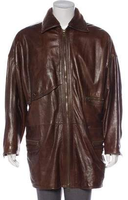 Gianni Versace Sherpa-Trimmed Leather Coat