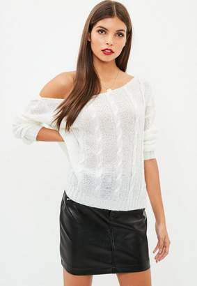 Missguided White Off The Shoulder Cable Knit Jumper