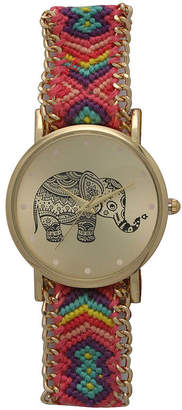 OLIVIA PRATT Olivia Pratt Womens Pink And Purple Braided Elephant Print Dial Strap Watch 14811
