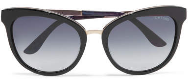 TOM FORD - Cat-eye Acetate And Gold-tone Sunglasses - Black
