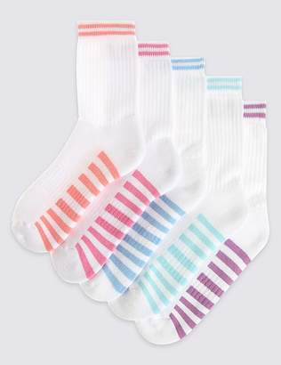 Marks and Spencer 5 Pairs of Cotton Rich Sports Socks (3-14 Years)