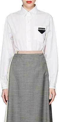 Prada Women's Logo Cotton Poplin Shirt - White