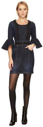 Pierre Balmain Grommet Denim Bell Sleeve Dress Women's Dress