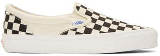 Vans Off-White and Black Check OG Classic Slip-On Sneakers
