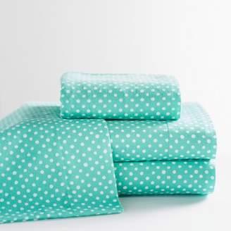 Pottery Barn Teen Snowball Dot Flannel Sheet Set, Full, Pool