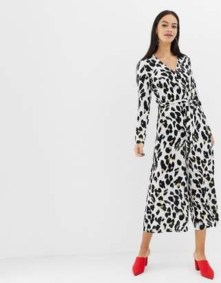 UNIQUE21 leopard print long sleeve jumpsuit