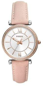 Fossil Carlie Three-Hand Leather Strap Watch