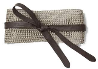 Lafayette 148 New York Obi Linen & Leather Belt