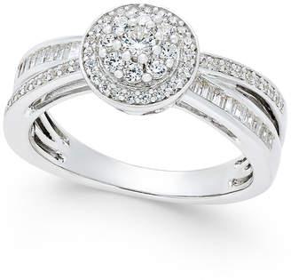 Macy's Diamond Modern-Style Ring (1/2 ct. t.w.) in Sterling Silver