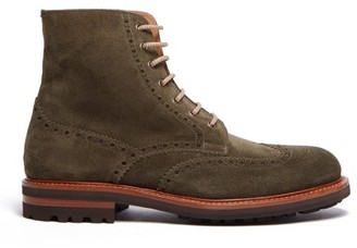 Brunello Cucinelli Suede Brogue Boots - Mens - Green