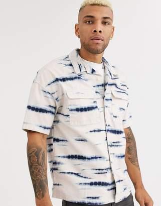 Bershka short sleeve oversized denim shirt with tie dye print